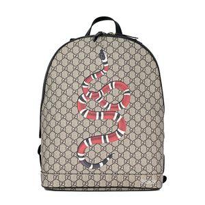 Gucci Kingsnake Print GG Supreme/ Leather Backpack